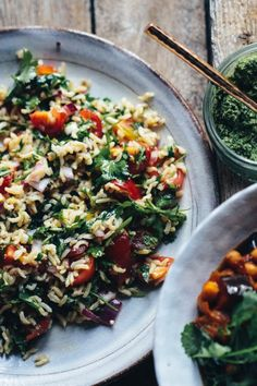 Moussaka - Aubergine and Chickpea Stew with Herby Rice - Rebel Recipes Good Healthy Recipes, Gourmet Recipes, Dog Food Recipes, Vegetarian Recipes, Chickpea Stew, Lentil Curry, Mousaka Recipe, Moussaka, Middle Eastern Recipes