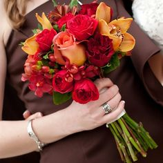 Red and Orange Fall Bridesmaid Bouquet