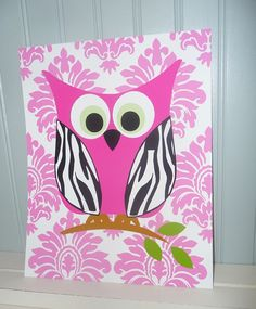 OWL Art Print  Zebra Damask Chevron Modern Wall by IAdoreDecor, $15.00