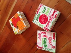 Modge Podge coasters I made with napkins and cheap tiles with felt on the bottom!