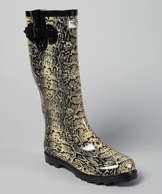 Look at this #zulilyfind! Forever Young Inc. Olive & Tan Snake Rain Boot by Forever Young Inc. #zulilyfinds