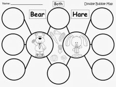 Free: Tops And Bottoms (by Janet Stevens) Bear and Hare Double Bubbles. Have your students compare and contrast the two main characters. For educational purposes only....Not for profit. Enjoy! Regina Davis aka Queen Chaos at www.fairytalesandfictionby2.blogspot.com