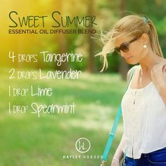 There's nothing sweeter than the smell of summer, and this diffuser blend provides just that and more! Tangerine and Lime essential oils have a sweet, tangy aroma that is uplifting and supports a healthy immune and respiratory system. Lavender has a soft, powdery scent and may help ease feelings of tension. And Spearmint promotes a sense of focus and uplifts mood with its sweet, minty aroma. This is a great blend to diffuse in the car - perhaps on the way to the beach! www.hayleyhobson.com