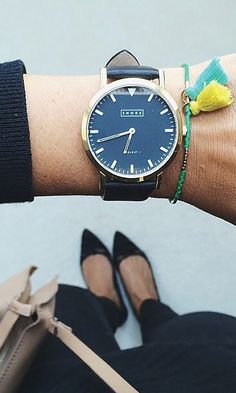 St Ives with black leather strap