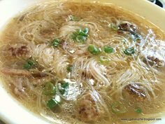 Miswa and Meat Balls Soup (you can also use ground beef for the meatballs and ad. Miswa and Meat Balls Soup (you can also use ground beef for the meatballs and add zucchini and boiled quail eggs in Filipino Soup Recipes, Filipino Dishes, Asian Recipes, Beef Recipes, Cooking Recipes, Filipino Food, Ethnic Recipes, Ground Beef Filipino Recipe, Vegetarian Recipes
