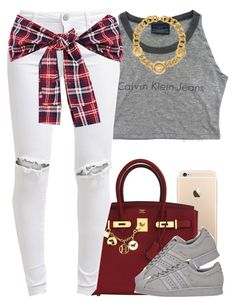 """""""Calvin Klein."""" by livelifefreelyy ❤ liked on Polyvore featuring Hermès, FiveUnits, adidas and Versace"""