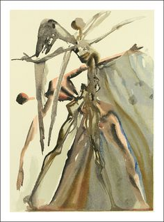 "Original signed Woodcut 1950 - 1960 by Salvador Dali form the serieThe Divine Comedy - canto of the Purgatory ""Di. Dante Alighieri, Devine Comedy, Dali Paintings, Salvador Dali Art, Woodcut Art, Street Gallery, Spanish Artists, Find Art, Illustration Art"
