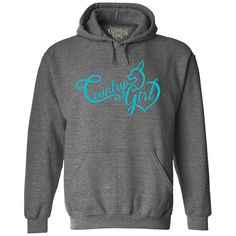 Women's Country Girl® Deer Heart Teal Relaxed Pullover Hoodie