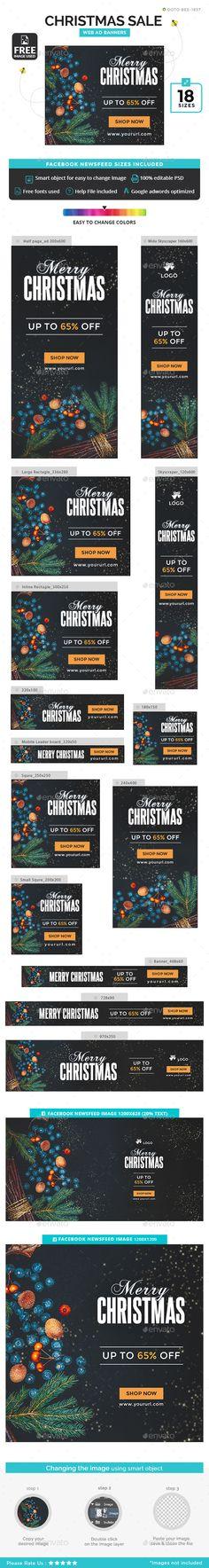 Christmas Sale Banners Template PSD #xmas #ads