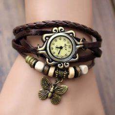 Reloj De Mujer Con Pulsera Cuero Abalorios Cuarzo Brazalete Estilo Vintage C5 in Relojes y Joyas | eBay