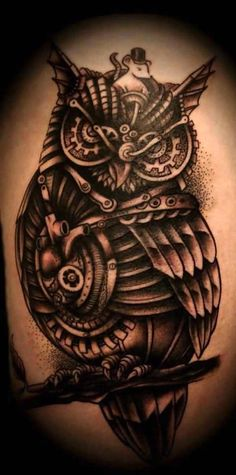 Truly Awesome Biomechanical Owl Tattoo