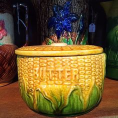 A majolica covered dish. Want to guess what it's meant to contain? Hint: It's good on corn. #majolica #antiques #antiquestore #peddlersvillage #visitnewhope #buckscounty #rusticdecor #kitchen by cookgardenerantiquespa