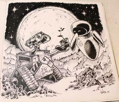 #wall-e #walle #disney #pixar #drawing #doodles #blackandwhite Cartoon Drawings, Drawing Sketches, Sketching, Doodle Wall, Wall E, Doodles, Disney Pixar, Artworks, Cartoons
