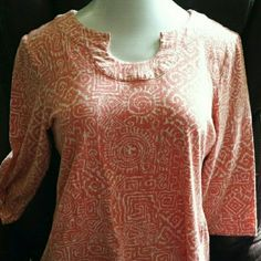 Adorable cotton top in orange/white tribal pattern Super cute jersey knit pullover top with three quarter sleeves and keyhole neckline. Cotton spandex blend is soft with some stretch. Perfect casual wear for spring. Tag says XL but fits like L. Like new! Lark Lane Tops Tees - Long Sleeve