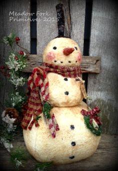 Primitive Folk Art Roly Poly Snowman Doll--Winter, Christmas, OOAK, Candy Canes & Wreath, Hafair team, Faap by MeadowForkPrims on Etsy
