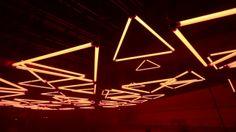 GRID - monumental kinetic light installation. GRID a monumental kinetic light installation illuminated the Rhône-Alpes Hotel de Region