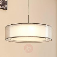 Buy Fabric pendant light Amon, dimmable LEDs, grey ✓Top-rated service ✓Comfortable & secure payment Years of experience ✓Order now! Luminaire Sur Rail, Luminaire Led, Led Lampe, Hallway Lighting, Kids Lighting, Bedroom Lighting, Drum Pendant, Pendant Lighting, Amon