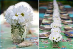 Inexpensive, easy centerpiece for vintage or cowboy weddings - daisies in a mason jar. Add a little raffia in your wedding color around the jar and presto!