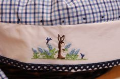 ON SALE limited time READY  12 inch basket and liner for boy heirloom hand embroidered scene by coffeycreations on Etsy