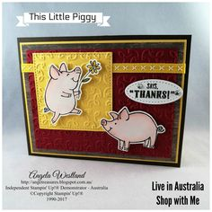 Click on the picture to see more of Angela\'s Projects. #stampinup #handmadecards #www.angelawestland.stampinup.net #thislittlepiggy #watercolouring #gardentrellisembossingfolder #woodtexturesdsp #colourtheorydsp #doublestitcheddaffodildelightribbon #pigs