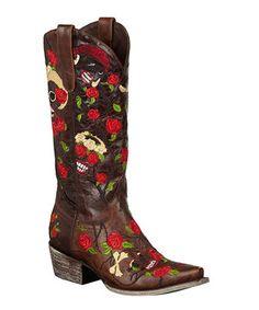 Lane Boots Brown   Red Rose Skull Roxy Cowboy Boot - Women 08c7b5b3f