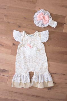 Peaches N Cream Bunny Romper & Headband Set| Spring 2017 Easter Clothing for Baby Girls