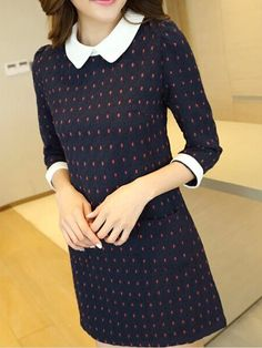 Dark Blue Embroidery Peter Pan Collar Dress - Fashion Clothing, Latest Street Fashion At Abaday.com