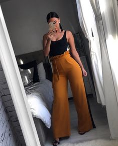 The Lesley High Waisted Trousers, tie to front, stripe detail, flared, high waisted. Girly Outfits, Office Outfits, Classy Outfits, Casual Outfits, Cute Outfits, Casual Dressy, Summer Work Outfits, Summer Outfits Women, All Fashion