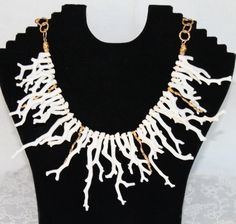 White Branch Coral and 24k Gold Necklace. $600.00, via Etsy.