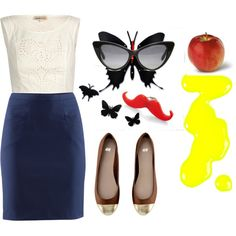 A fashion look from March 2012 featuring white shirt, navy blue skirt and ballet shoes. Browse and shop related looks. Ford Models, Opening Ceremony, White Tops, Tom Ford, Ballet Shoes, Navy Blue, Nail Polish, Fashion Looks, Apple