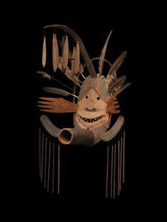 At the Winter Antiques Show, Donald Ellis Gallery sold this Complex Mask (Donati Studio Mask) Yup'ik  eskimo shamans, Kuskokwim Region, Alaska, circa. 1890-1905, wood, pigment, sinew, vegetal fiber, cotton thread, replaced feathers,height: 34 inches.