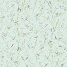 Green - 214082 - Tuileries - Humming Birds - Fabienne - Sanderson Wallpaper Listing in the Wallpaper,DIY