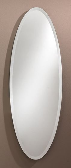 301 – Elongated Oval Frameless mirror with 1″ beveled edge. 18″ wide, 52″ high and 3/8″ deep.