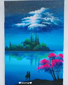 Beautiful Acrylic Painting Video Tutorial Part 86 - Malerei Easy Canvas Painting, Simple Acrylic Paintings, Sky Painting, Abstract Landscape Painting, Landscape Art, Easy Nature Paintings, Acrylic Painting Trees, Easy Landscape Paintings, Galaxy Painting