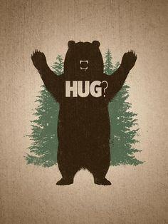 Matthew J. Parsons Bear Hug Art Print (Cause we all love hugs, haha. Just a little bit of artwork~) Illustrations, Illustration Art, Humor Grafico, Photos, Pictures, Throw Pillows, Art Prints, Drawings, Funny