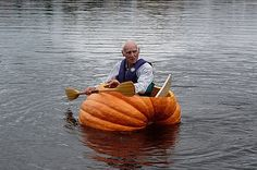 You may think you are cool, but you will never be as cool as the fella paddling THIS PUMPKIN CANOE!!! Rock it!