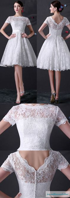 Trendy Wedding Dresses With Sleeves Short Bridal Gowns Trendy Dresses, Nice Dresses, Short Sleeve Dresses, Dresses With Sleeves, Short Sleeves, Long Sleeve, Lace Sleeves, Knee Length Dresses, Tight Dresses