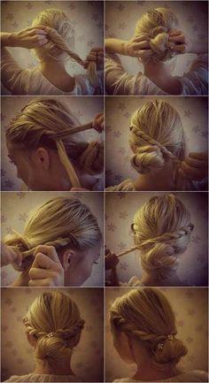 This looks cute. Hopefully I can do it with medium length hair. #hair #style #hairstyle #bun #hair #style #hairstyle #color #haircolor #colorful #women #girl #style #trend #fashion #long #natural #medium #different #bun