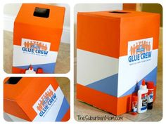 Upcycled Diaper Box into a Glue Crew Collection Box! Let's recycle those glue sticks and glue bottles!