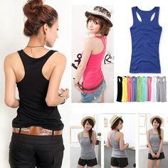 Womens Racer Back Vest Ladies Rib Cotton Long Gym Summer Top Tshirt Size 6-10
