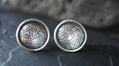 Contemporary Sterling Studs  Textured Disc by SeverinMetals