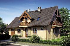 Model de casa cu balcoane din lemn si fatada cu piatra