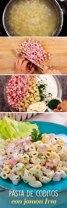Esta pasta fría de coditos con jamón es una receta fácil de preparar para fiestas y reuniones. Puedes agregarle mayonesa crema perejil salchicha y verduras para que rinda para todos tus invitados sin gastar de más. Utiliza ESTE atajo metabolico de 3 mi