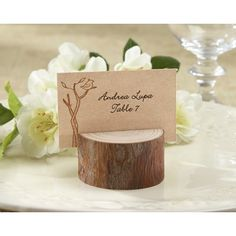 Rustic Real-Wood Place Card/Photo Holder (Set of 4) | Nuptial Knick Knacks  Is your wedding being held at a tropical destination? Perhaps you want to enjoy a tropically themed reception with friends and family after your union. Either way, you can delight your guests with these flip-flop shaped luggage tags. Easy to personalize and use, these tags will remind your guests of you and your beloved each time they pack for a trip.