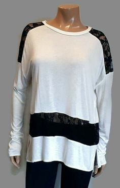 Wilfred Aritzia Tunic Top Womens Small Ivory Black Lace Inset Rayon Long Sleeve #Wilfred #Tunic #Casual Lace Inset, Black Laces, Tees, Shirts, Tunic Tops, Ivory, Long Sleeve, Blouses, Casual