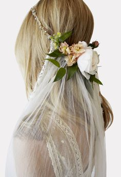 The Tatia from Stone Fox bridal. Gorgeous silk tulle veil with flower crown.