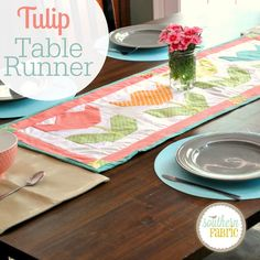 Free Tulips Table Runner tutorial.  Step by Step instructions.