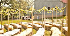Hay bales as tables. Very buggy idea, if you ask me