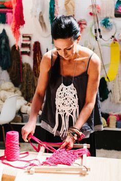 Natalie at work in her studio. Photo – Rachel Kara for The Design Files.