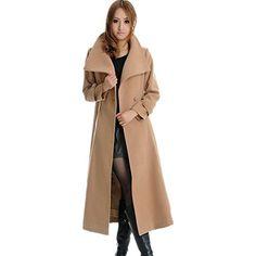 Winter Ultra Long Wool Coat Slim Cashmere Woolen Overcoat